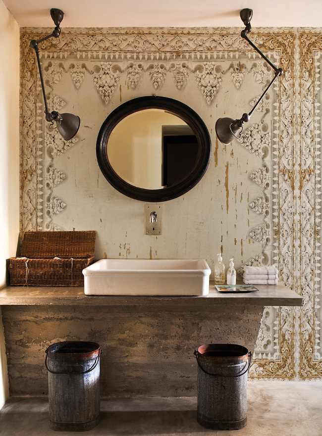 square vessel sinks - a large vintage rectangular fireclay sink holds its own on a concrete slab against a unique Indian inspired wall treatment - interiorsupply.co.uk via Atticmag