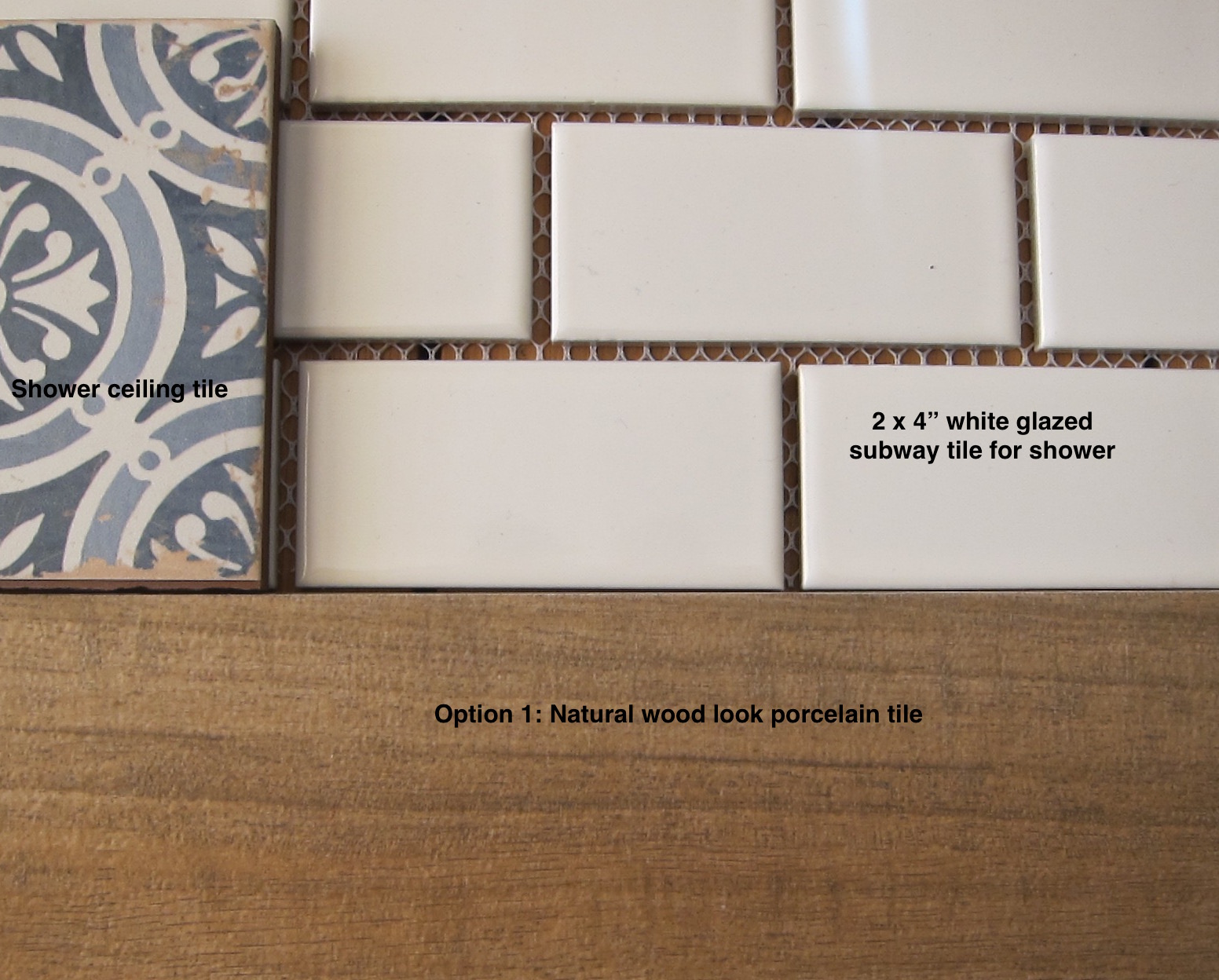 powder room - tile choices include Mediterranean pattern tile, 2 x 4 inch white subway tile and wood-look porcelain floor tile - Atticmag