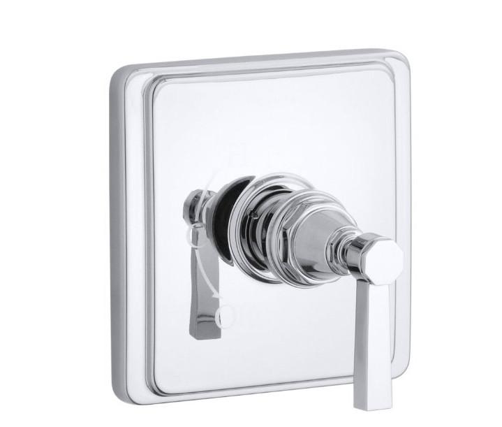 powder room - Kohler Pinstripe pressure balance shower valve - Kohler via Atticmag