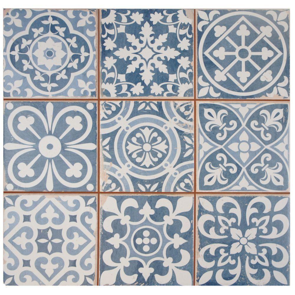 powder room - blue and white Mediterranean style ceramic tile for powder room ceiling - Merola tile via Atticmag