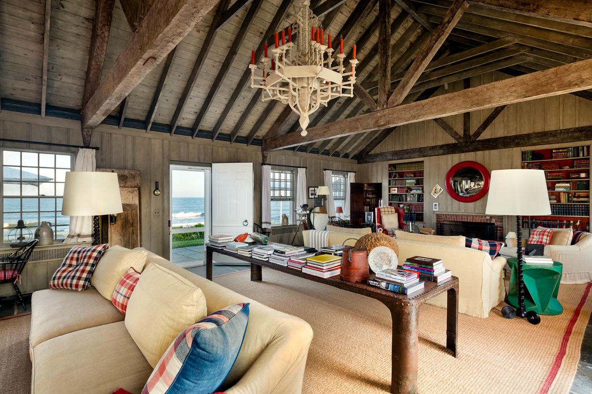 Andy Warhol beach house - living room of the large cottage at Eothen redecorated by Thierry Despont - Gotham Photo Company via Atticmag