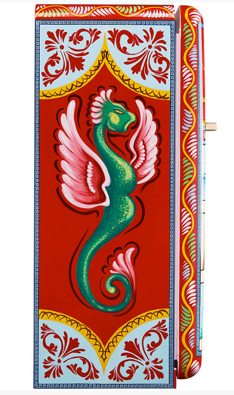 Dolce & Gabbana refrigerators - Side panel of the Smeg special edition Fab28 Colapesce hand-painted refrigerator depicting the mythical sea monster Scylla- Smegusa via Atticmag