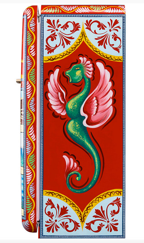Dolce & Gabbana refrigerators - Side panel of the Smeg special edition Fab28 Colapesce hand-painted refrigerator depicting the mythical sea monster Charybdi - Smegusa via Atticmag
