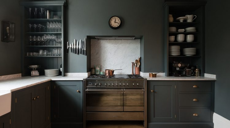 deVol kitchen - Shaker cabinets in Flint gray set the tone for a London kitchen with a Smeg range and minimalist lines - deVol Kitchens via Atticmag