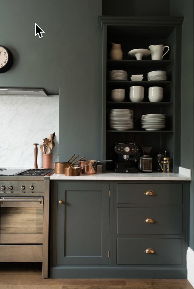 deVol kitchen - Corner cabinets on the range wall of a deVol kitchen Shaker cabinets in Flint gray - deVol Kitchens via Atticmag