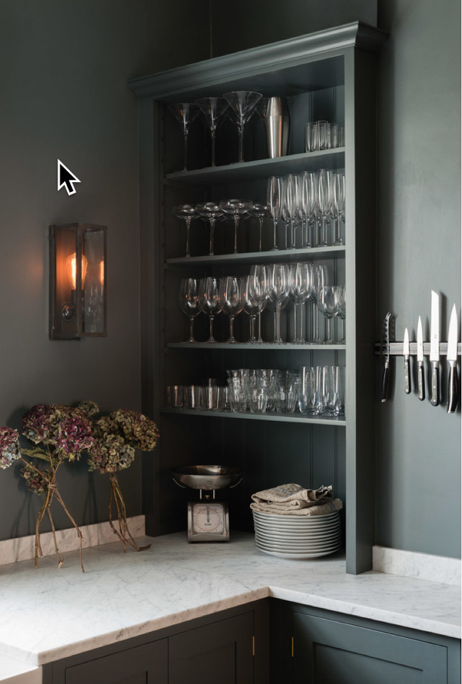 deVol kitchen - Corner with open shelves on the range wall of a deVol kitchen Shaker cabinets in Flint gray - deVol Kitchens via Atticmag