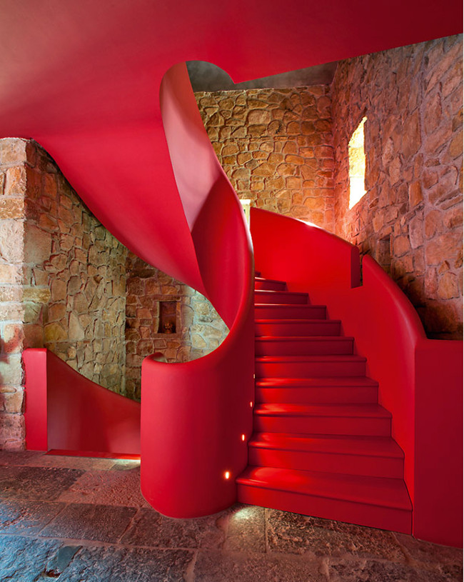 modern staircases - red staircase reimagined by Belgian designer Lionel Jadot in an ancient French castle - ad.ru via Atticmag