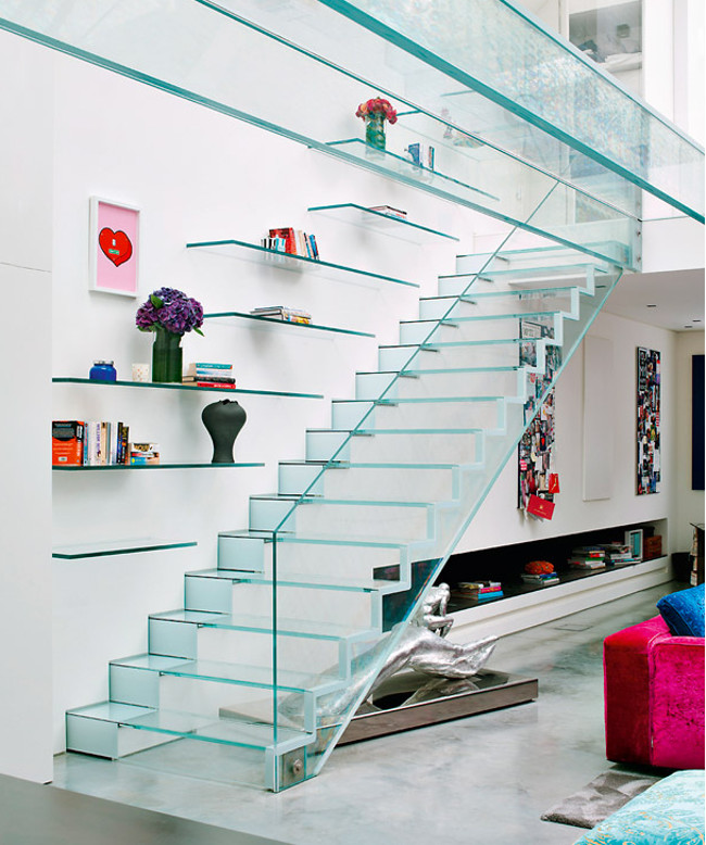 modern staircases - tempered glass staircase in a London loft by Kinsman Davidson - ad.ru via Atticmag