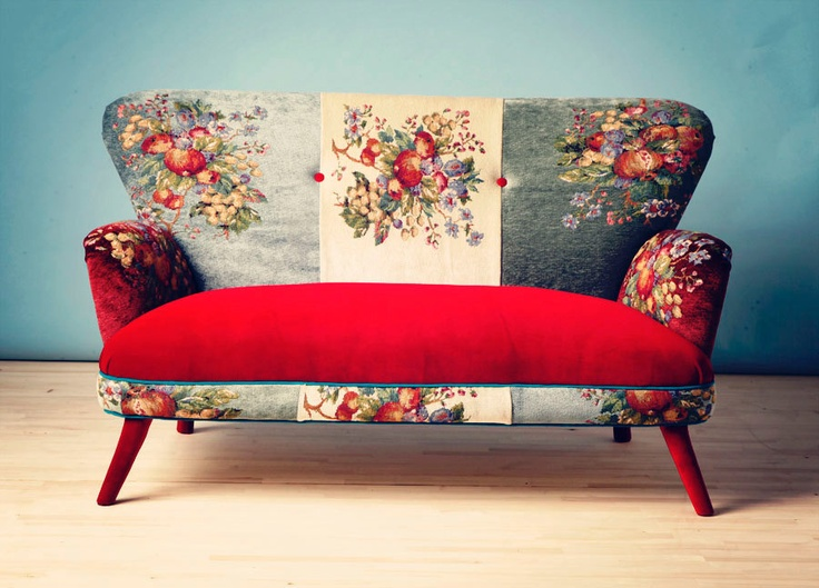 statement sofas - saber leg flared back sofa with floral upholstery and contrast seat - namedesignstudio/etsy via Atticmag