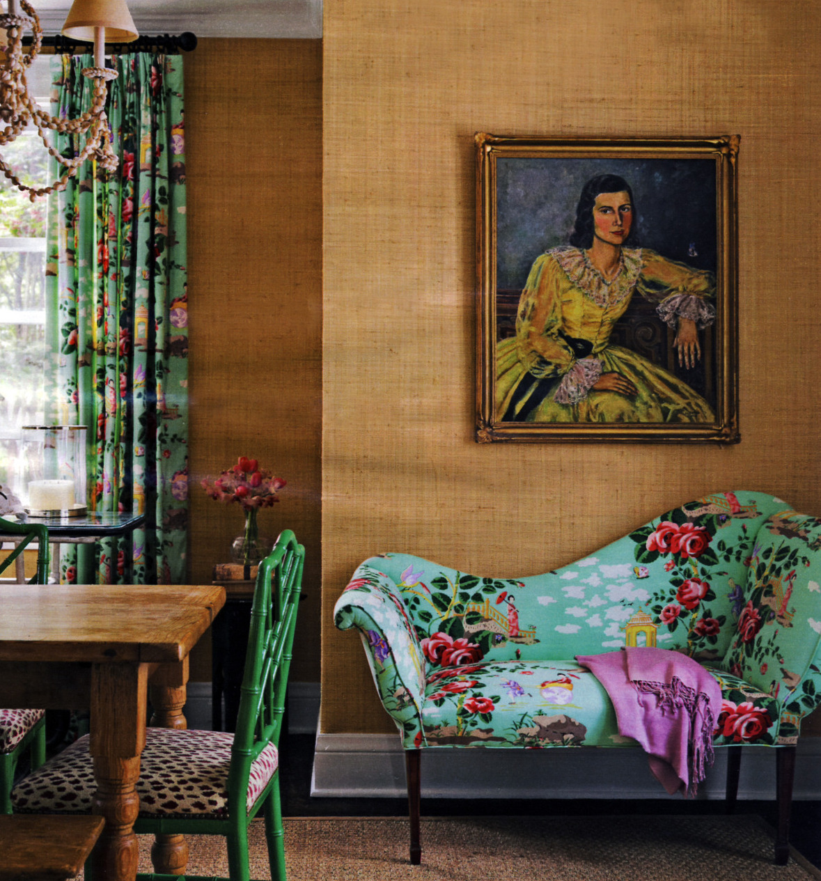 statement sofas - camelback settee upholstered in Scalamandre aqua Chinoiserie chintz - countryliving.com via Atticmag