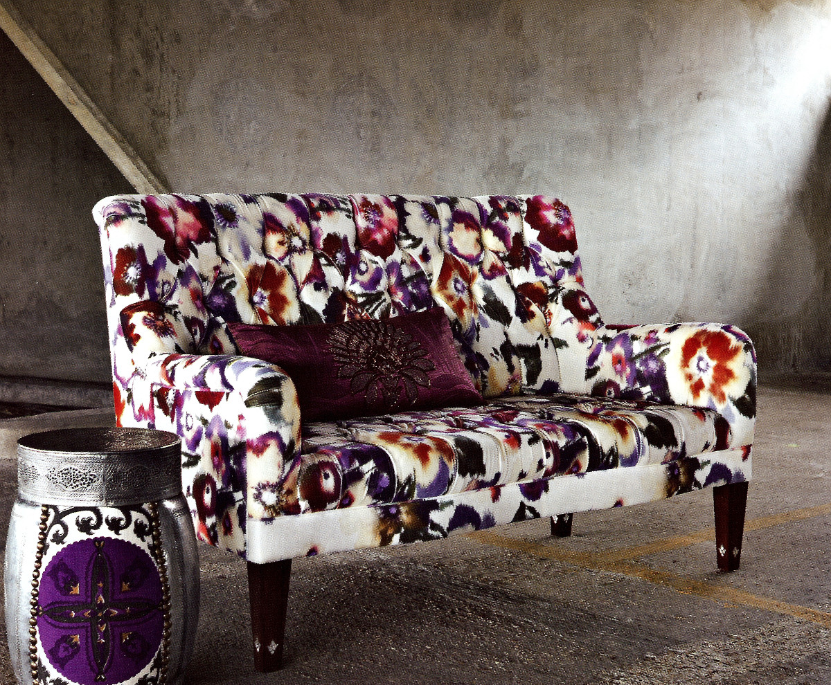 statement sofas - floral upholstered tufted settee - Maze Creative Concepts via Atticmag