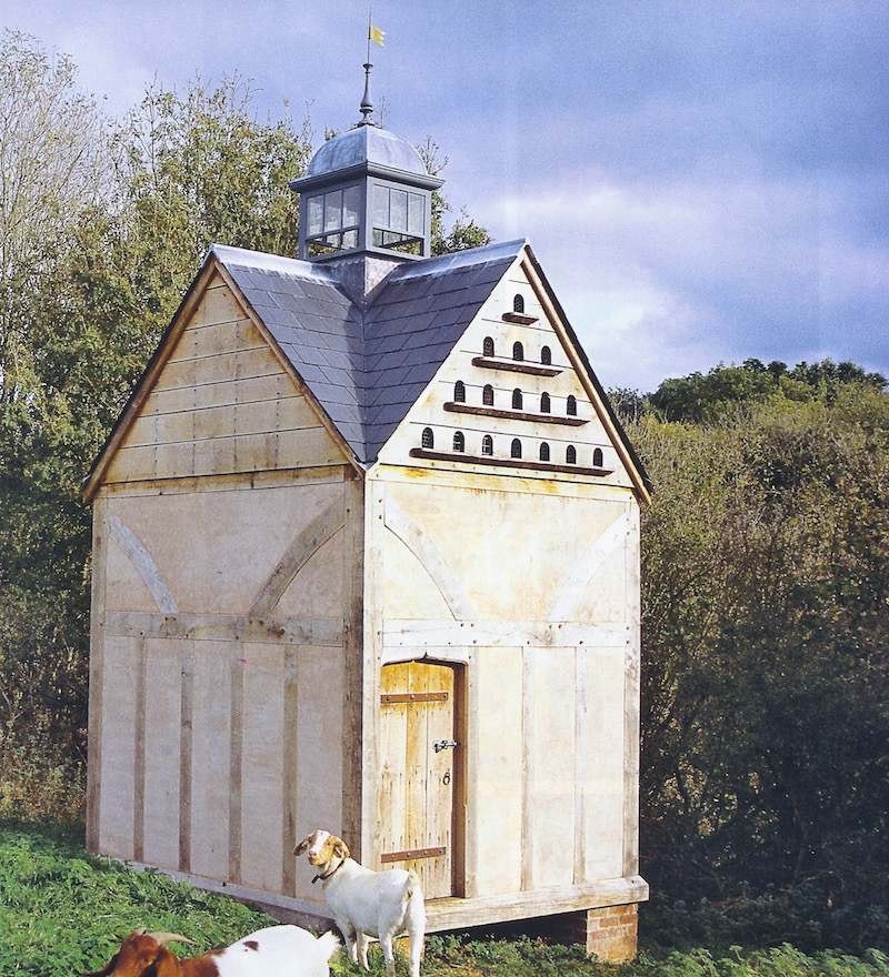 exterior of hand built dovecote with oak frame in Somerset England - World of Interiors via Atticmag