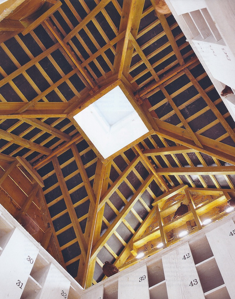 oak beams support the gabled room of an English dovecote - World of Interiors via Atticmag