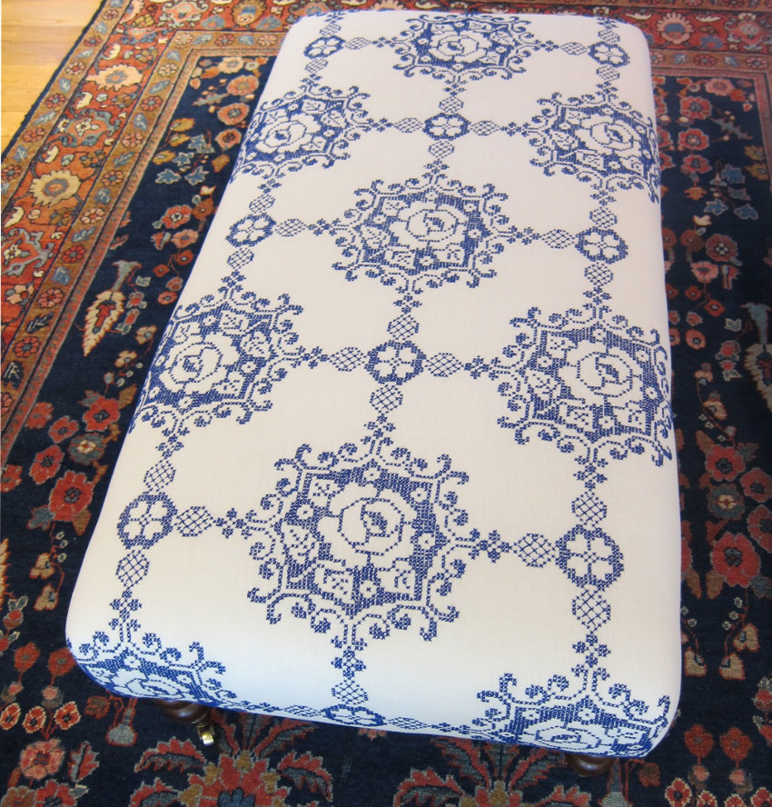 embroidered repurposed vintage tablecloth used to recover an ottoman - Atticmag
