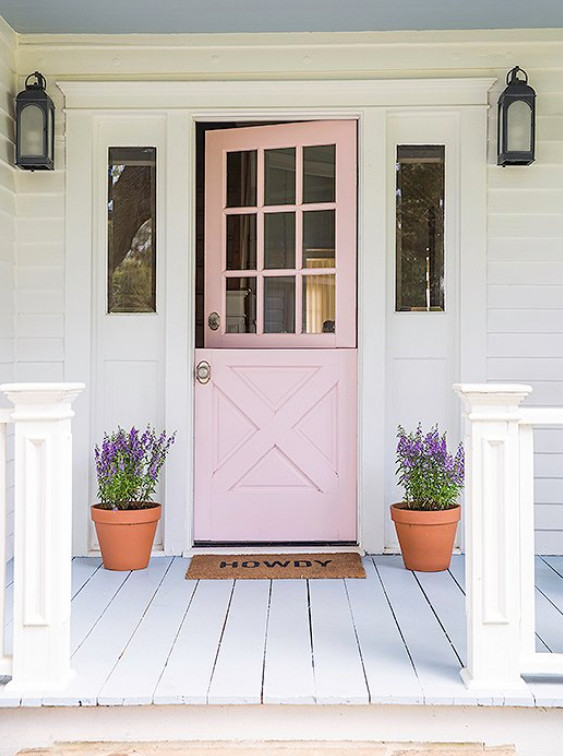 peony pink - pale peony pink front door of a Texas farmhouse - onekingslane via atticmag