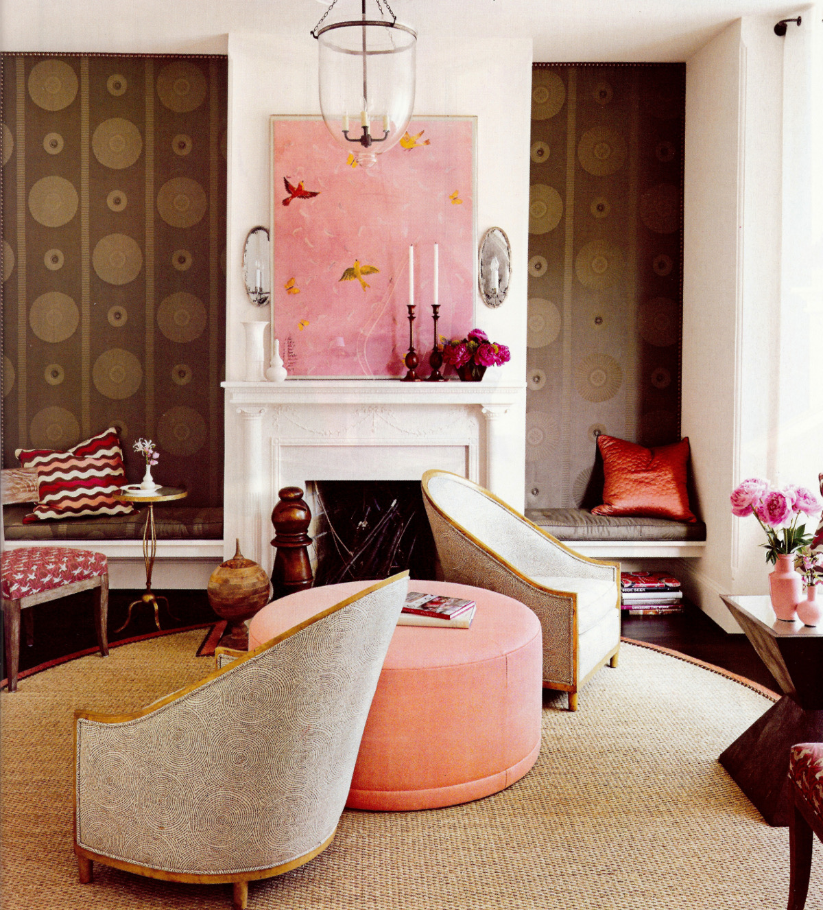 peony pink - living room by Barry Dixon combining peony pink with brown - House Beautiful via Atticmag