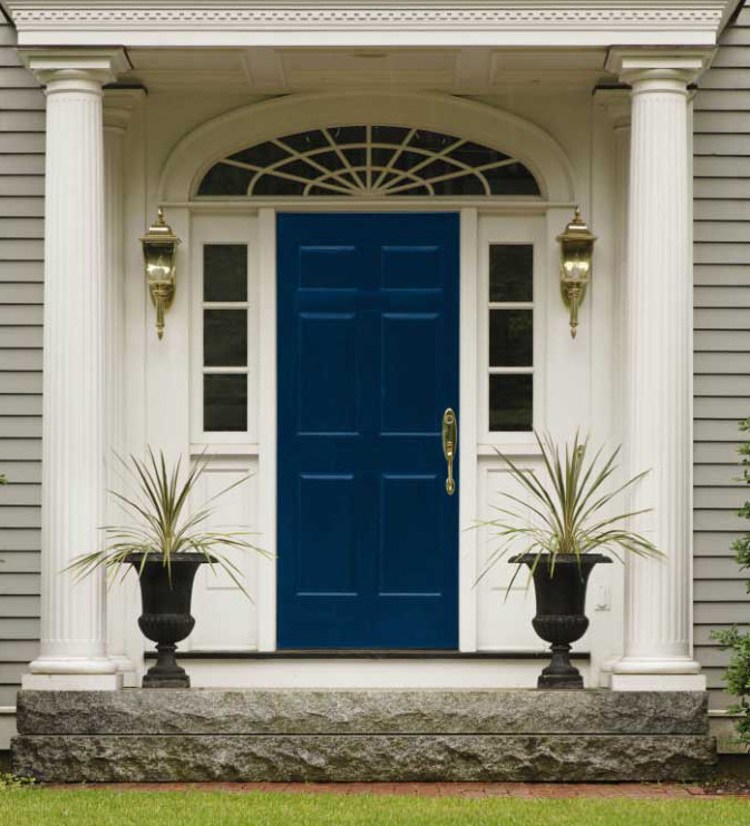 Beauti-Tone French Navy Blue front door - Maria Kiliam via Atticmag