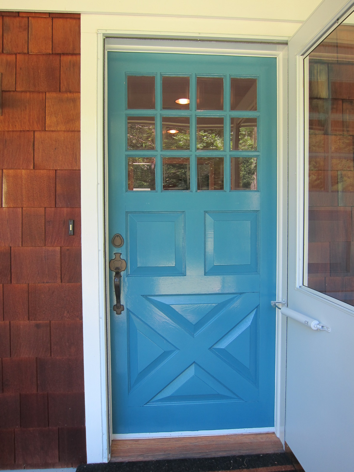 front door painted Zuider Zee Blue by Fine Paints of Europe - Atticmag