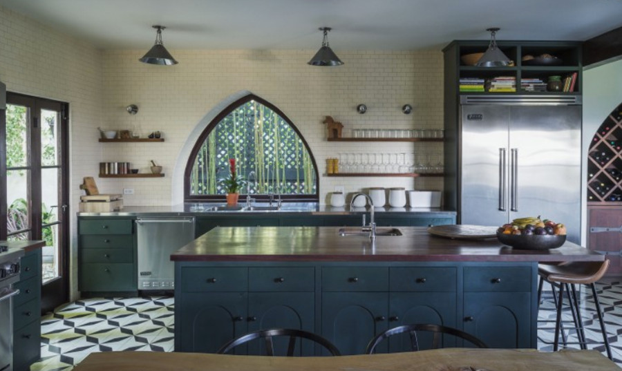 dark green kitchens - renovated Spanish colonial kitchen - Commune via Atticmag