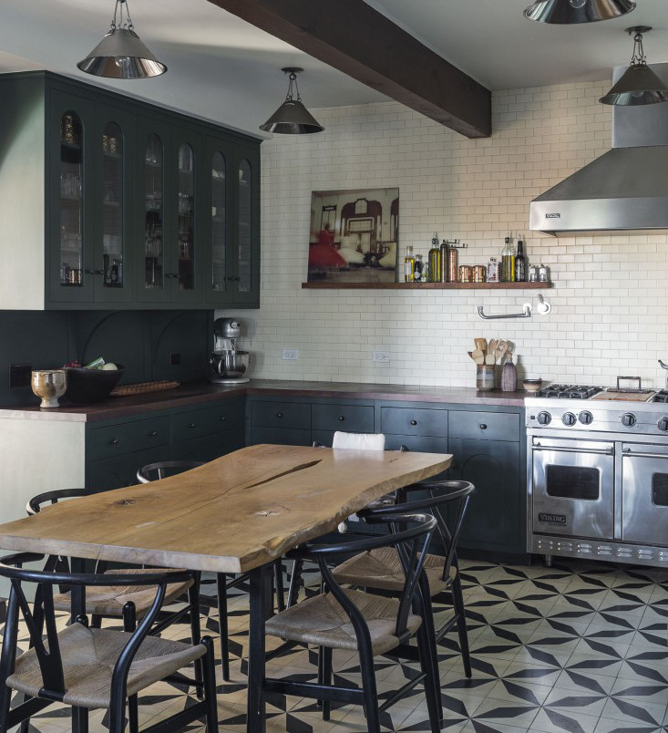 dark green kitchens - renovated Spanish colonial kitchen with patterned tile floor - Commune via Atticmag