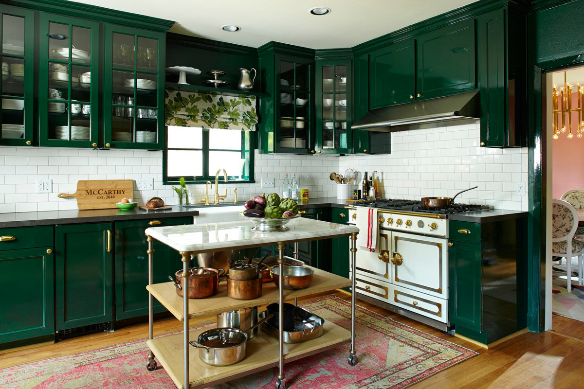 dark green kitchens - Bailey McCarthy's Home; Photog: Hector Sanchez; Prop Stylist: Sarah Cave - manthoor via atticmag