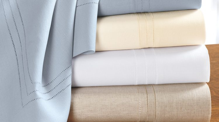 linen bed sheets - Italian linen triple hemstich linen bed sheets -Cuddledown via Atticmag