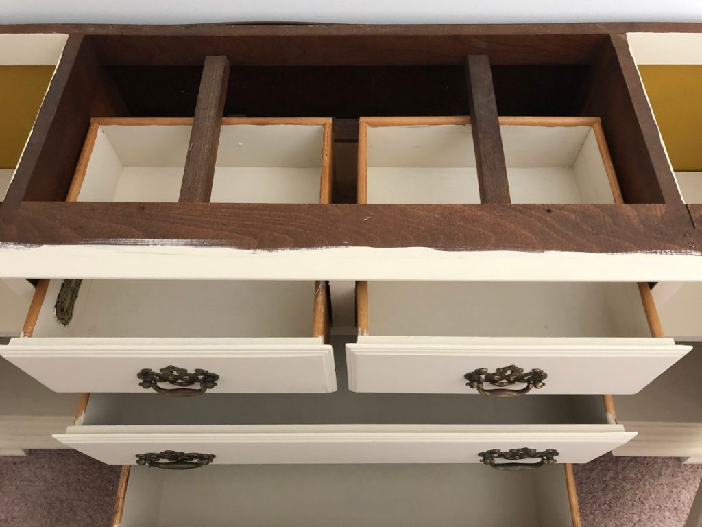 repurposed dining room china cabinet base fully painted including inside of the drawers - Atticmag