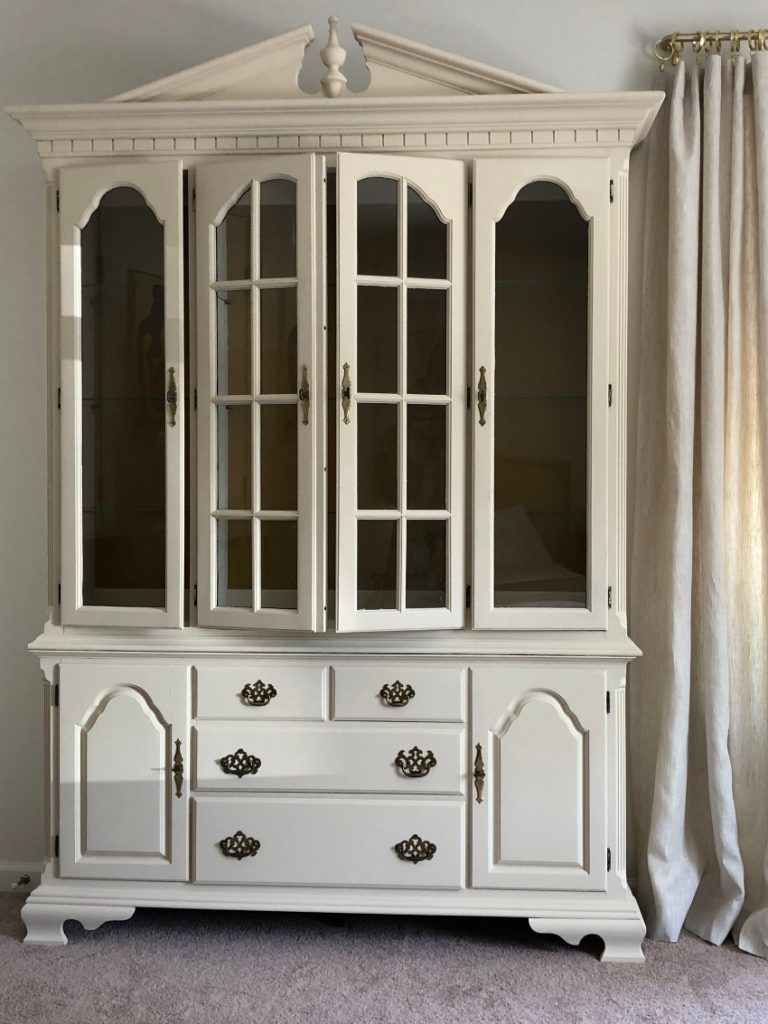 finished chalk painted and repurposed dining room china cabinet - Atticmag