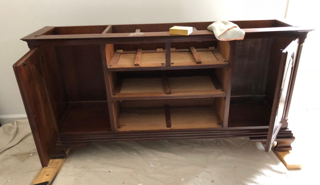 repurposed china cabinet, preparing the base for painting - Atticmag