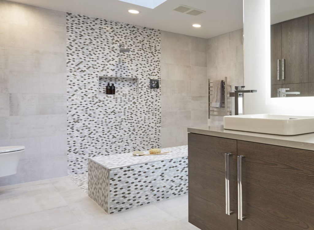 open plan showers - minimalist spa-style bath by Dream Kitchens, Highland Park, Ill. via Atticmag