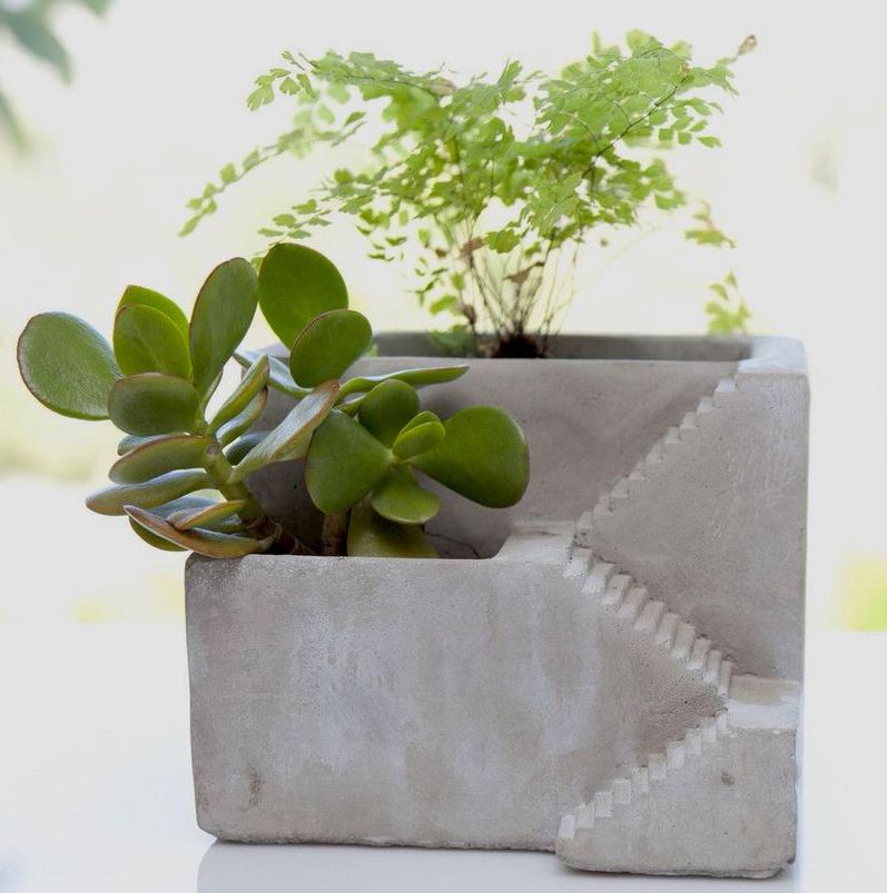 mini two-compartment architectural planter by Vagabond Vintage - via Atticmag